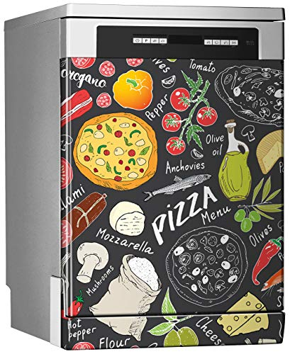 MEGADECOR Vinilo Decorativo para Lavavajillas, Medidas Estandar 67 cm x 76 cm, Pizza Doodles sobre Fondo Gris Oscuro