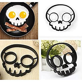 Egg Pancake Ring Shaper Kitchen Cooking Tool Breakfast Silicone Omelette Mold Halloween Horror Skull Fried Egg Mold Creative Cartoon Shaped Egg Ring 5.3X5.11X0.59 inch