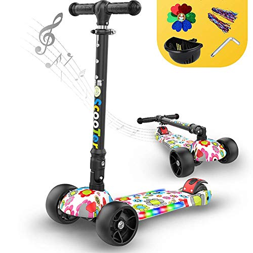 Buy PLLP Child Foldable Scooter-Scooter Kick Folding Kick with Music/Flashing Wheel, Adjustable Grav...