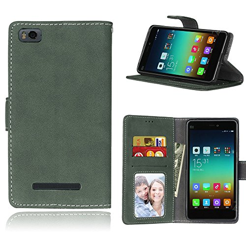 zl one Telefono Caso per Xiaomi Mi 4i 4c Mi4i Mi4c M4i M4c,PU Custodia in Pelle 3 Carte Slot Credito Flip Cover Case Chiusura Magnetica(Verde)