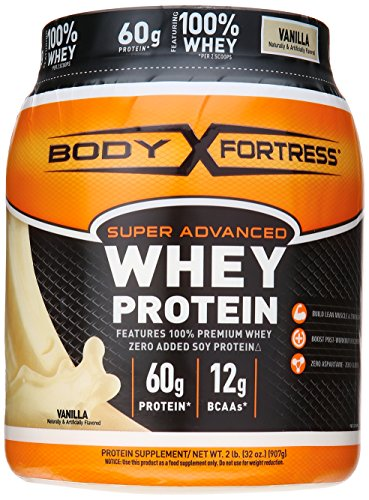 Body Fortress Super Advanced Whey Protein Powder, Plus Creatine and Glutamine, Gluten Free, Vanilla, 32 Ounce (2lb)