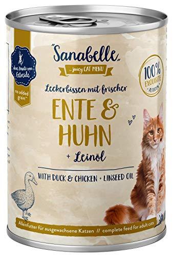 Sanabelle Nassfutter Leckerbissen mit Ente & Huhn | 6 x 400 g | 2.4 kg