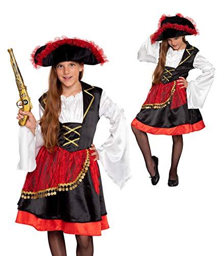 Magicoo Piratenkostüm Mädchen Kinder Gr 110 bis 140 inkl. Kleid, Gürtel & Hut - Piraten Kostüm Fasching (122/128)