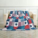 Asvert Quilt Tagesdecke 100prozent Baumwolle Bettüberwurf Steppdecke Patchwork Bettdecke Einzelbett Sofa(150 * 200, Blau)