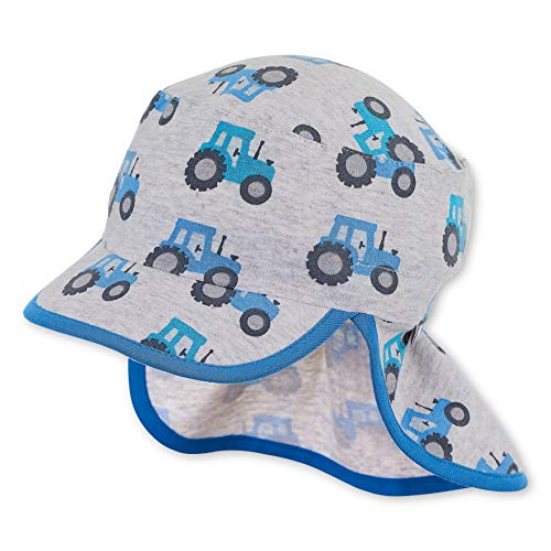Sterntaler Baby-Jungen Schirmmütze Nackenschutz Traktor-Motiven Mütze, Grau (Silber 513), (Herstellergröße: 45)