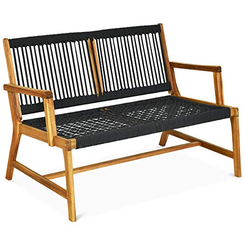 Tangkula 2-Person Patio Acacia Wood Bench Loveseat Chair, Outdoor Patio Bench Acacia Wood Bench in Teak Oil Finish, Patio Loveseat Rope Bench for Balcony Deck Poolside Porch (Black)