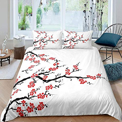 Rnvvaceo Duvet Cover Sets 3D Natural romantic red plant plum flower Printing Child Adult Bedding Set 100% Polyester Gift Duvet Cover 3 Pieces With 2 Pillowcases Single size 135 x 200 cm, Children's