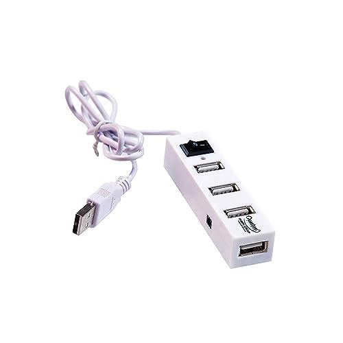 Quantum QHM6660 4 Port Hi-Speed USB Hub with Power Switch (White)