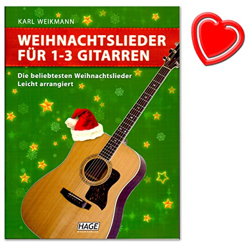 Kerstliedjes voor 1-3 gitaren (licht gearrandeerd) - Ideaal voor het muziekonderwijs en het musceren in kleine groepen - Auteur Karl Weikmann - met kleurrijke hartvormige notenklem