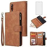Asuwish Étui portefeuille avec protection d'écran en verre trempé et porte-cartes pour Samsung...