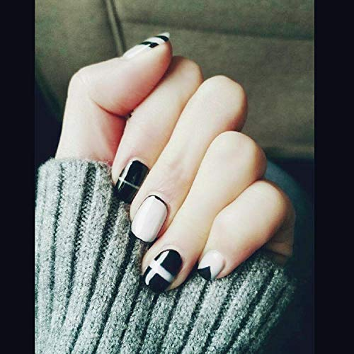 CSCH Faux ongles Hot selling fashion grandmother s gray and black pure color french false nails with glue Cute short fake nails full nail tips