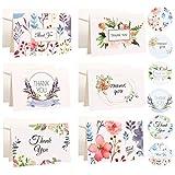 RuiChy Set di 18 Tarjetas de Agradecimiento con Sobres y Pegatinas, 6 Diseños Floral Tarjetas de Felicitación, Interior en Blanco Tarjetas de Regalos Thanksgiving Tarjetas Gracias (4 x 2,75 Pulgadas)