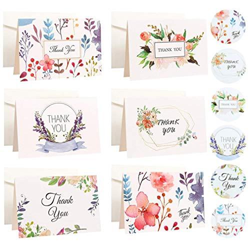 RuiChy 18 Stück Dankeskarten mit Umschlägen und Aufkleber Set, Bunte 6 Designs Grußkarte Innen Leere Bulk Klein Danke Karten Dankeschön Grußkarten Florale Danksagungskarte für Hochzeit Geburtstag