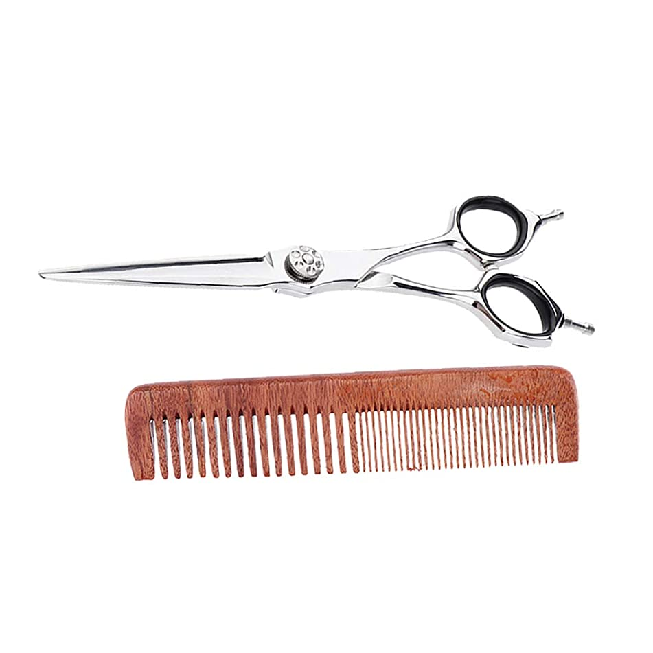Flameer Salon Home Styling Hair Scissors Shears with Comfortable Grip & Wide Fine Tooth Wood Comb for Men Women