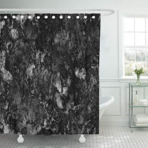 None brand Grauer Granit Marmor Schwarz Und Weiß Rock Polierte DuschvorhäNge Wasserdichtes Polyestergewebe Mit Haken-B90xH180cm