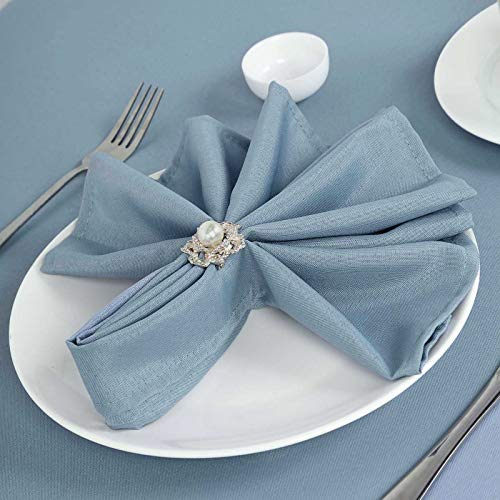 Efavormart Pack of 25 Premium Dusty Blue 20' x 20' Washable Polyester Napkins Great for Wedding Party Restaurant Dinner Parties