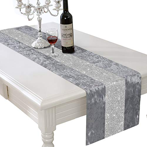 HALOViE 13 x 90 Inch Table Runner, Rectangular Coffee Dining Table Cloth Dresser Runners with Diamante Strip for Home Kitchen Christmas Party Wedding Decorations Gray