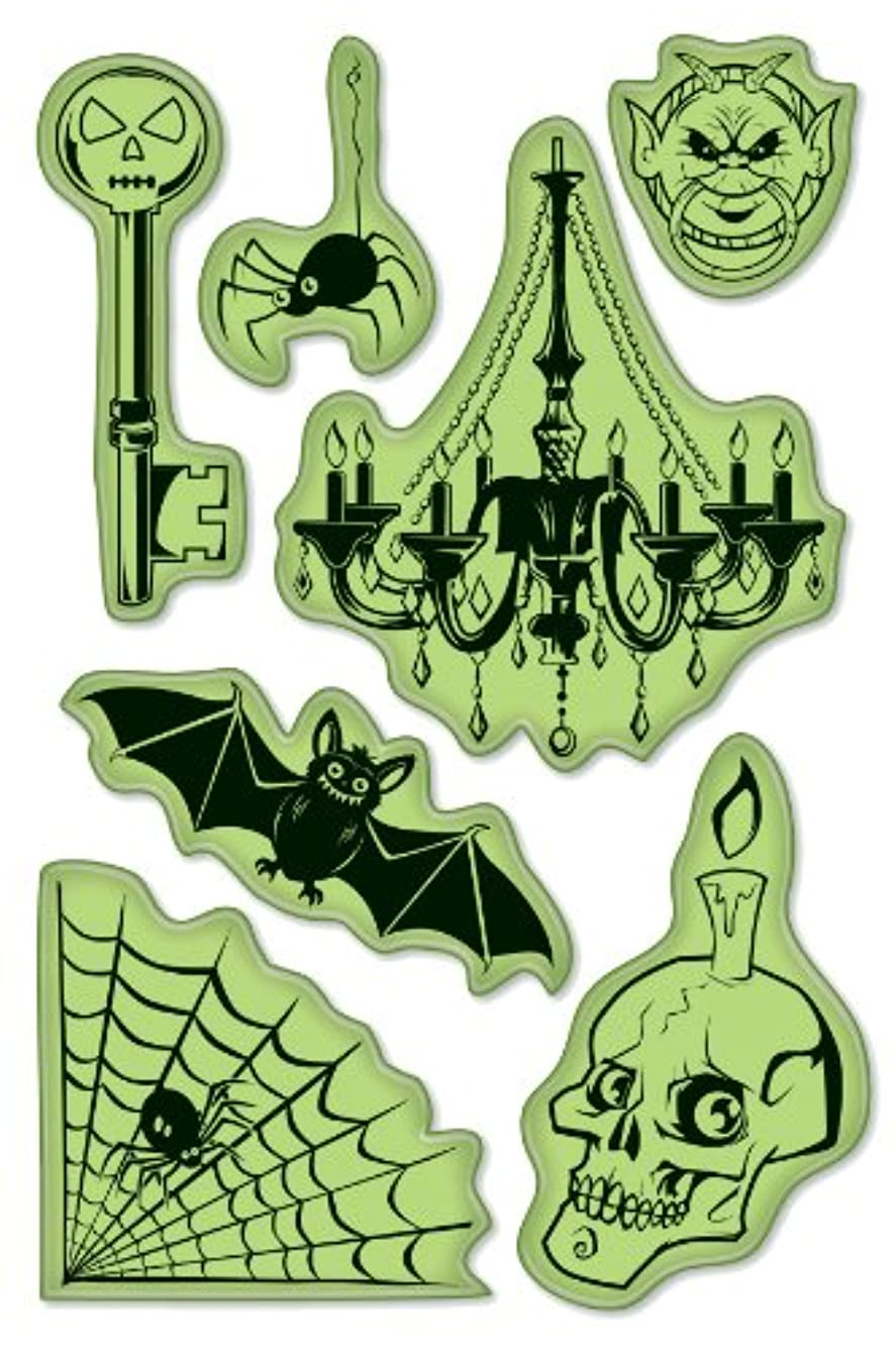 Inkadinkado Spooky Halloween Cling Stamp Set for Arts and Crafts, 7pc