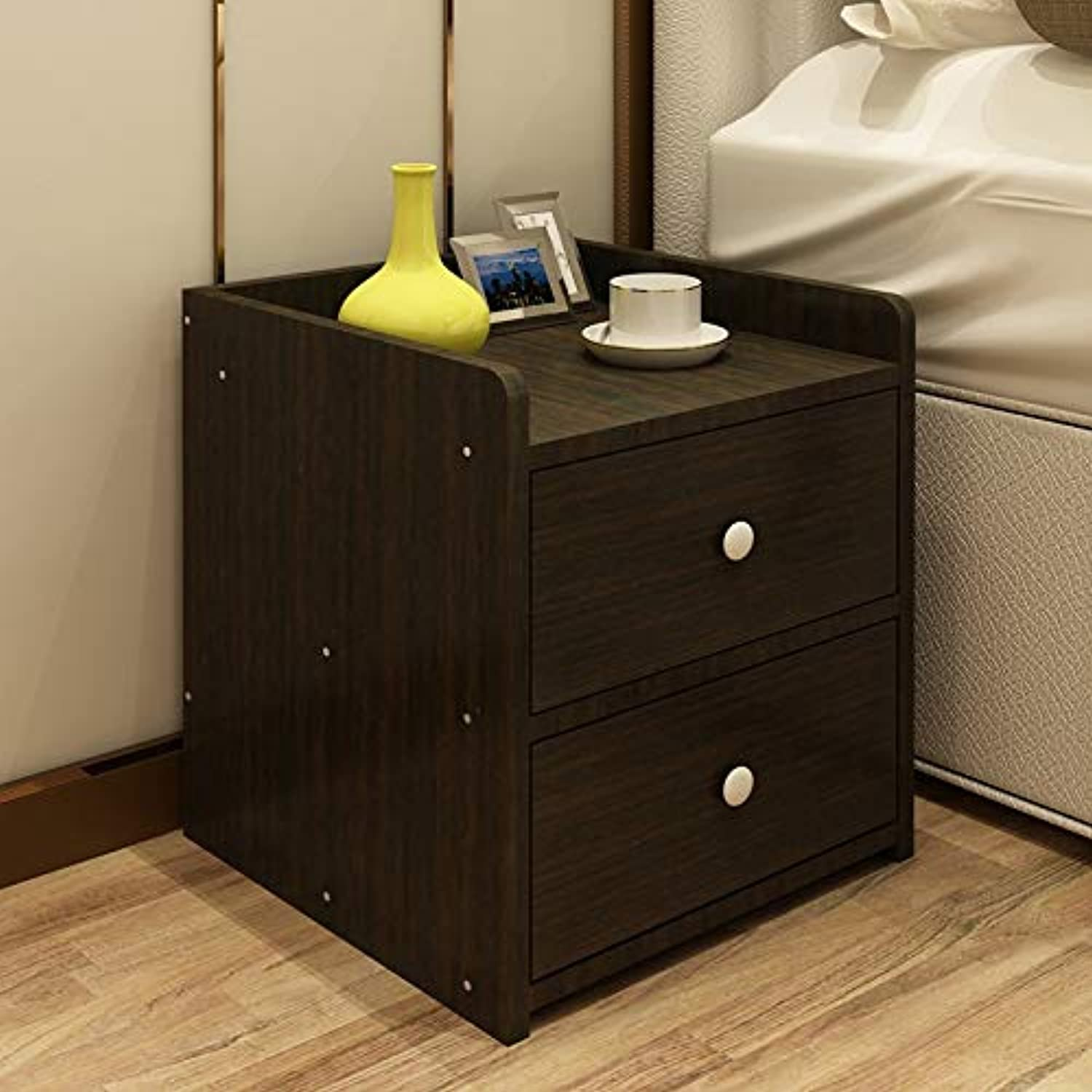 NYDZDM Bedside Cabinet Locker with 2 Drawers Bedroom Storage Bedside Cabinet Simple Small Cabinet (color   D)