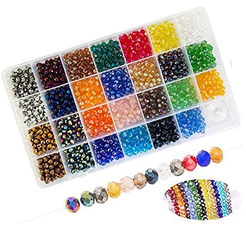 1350 perlas de cristal de 6 mm, perlas de cristal facetadas para manualidades, joyas, collares, pulseras, manualidades, 27 colores