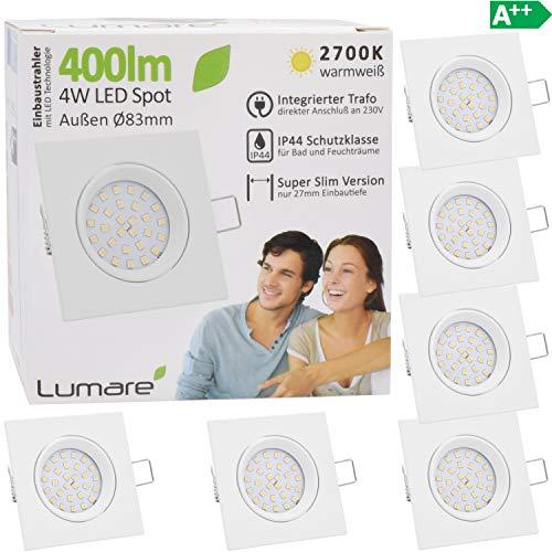 6x Lumare LED Einbaustrahler 4W 400 Lumen IP44 nur 27mm extra flach Einbautiefe LED Leuchtmodul austauschbar Deckenspot AC 230V 120° Deckenlampe Einbauspot warmweiß weiß eckig Badezimmer