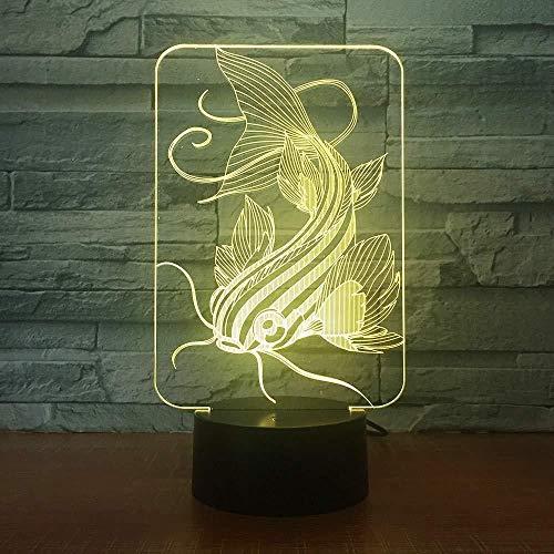 isch 3DLED Licht Hologramm Phantom 7 Farbwechsel Dekoration Katze Fisch Licht Beste USB3D Nachtlicht Geschenk für Hauptdekoration