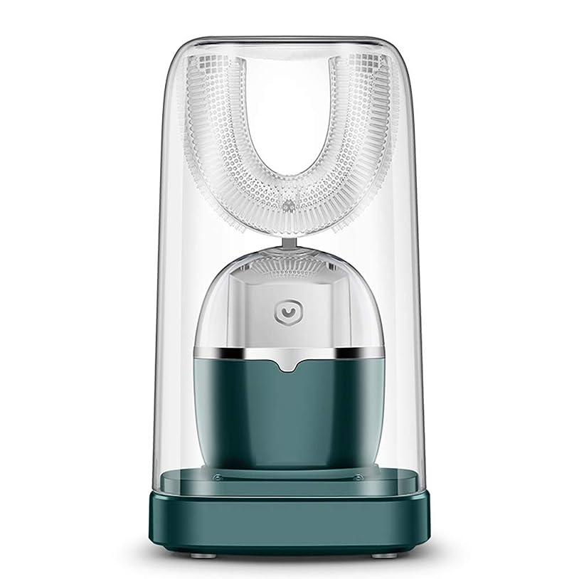 顔料若者解体する電動歯ブラシ、360°のU型クリーニングホワイトニング歯ブラシのクリーニング歯ステインプラーク防水USB歯マッサージホワイトニングツールPX7を充電 (Color : Green)