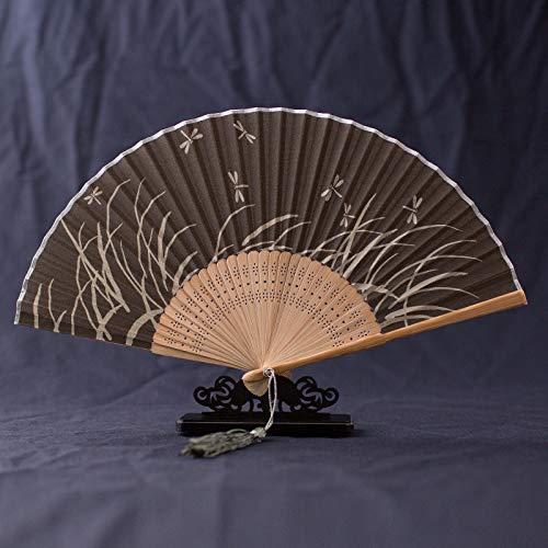 LUOSHUI Klassische Faltfan Sommerfrau Chinesischer Windfan-Tanz-Fan Han Anzug Cheongsam und Wind-Fan antiken Faltfan 24 Hellblauer Duft