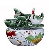 ZZABC SZGZSPCHW Rueda de Agua Que Fluye de cerámica Fuente de Agua de la decoración de Viento de bambú Creativo Azud decoración Fish Tank (Color : Style One)