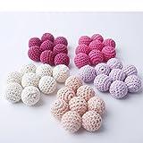Serie Rosa Crochet los granos de la dentición 60 PCS 20mm Mordedor de madera...
