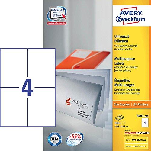 800 AVERY Zweckform Etiketten 3483-200 / weiß / matt / 105,0 x 148,0 mm