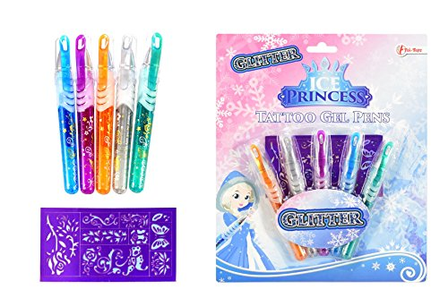 Toi-Toys Ice Princess 45650A Tattoo, 5 Gelstifte mit Pailletten für Kinder, Schablonen, Lizenz für Make-up, mehrfarbig