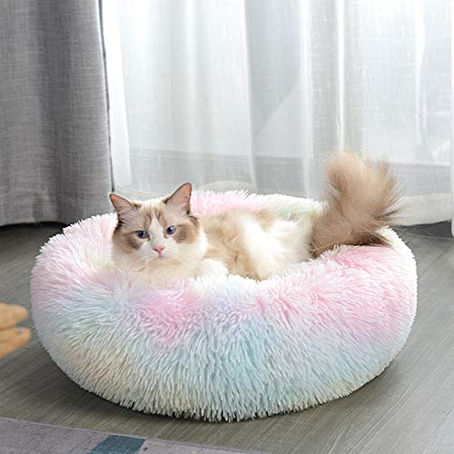 FAVOMATE Cat Beds for Indoor Cats, Machine Washable Dog Bed for Small Dogs, Round Fluffy Donut Cuddler Calming Pet Bed…