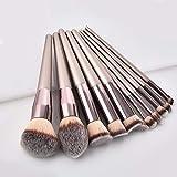 10 unids/set juego de brochas de maquillaje champán para base cosmética en polvo sombra de ojos brocha de maquillaje herramienta de belleza
