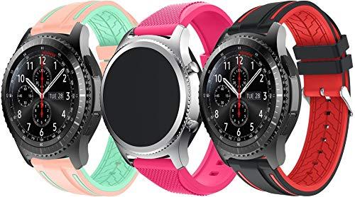 Simpleas Correa de Reloj Compatible con Amazfit Pace/Stratos/GTR 47mm, Silicona Banda de Reemplazo Pulsera (22mm, 3PCS B)