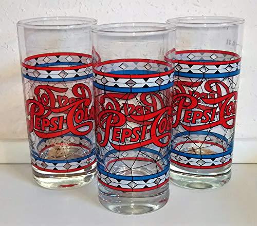 Vasos de cristal Pepsi – Cola/Retro – Tiffany/3 x 0,3 litros/originales/vintage/coleccionables