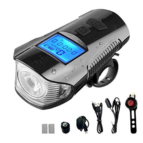 PTN Luces Bicicleta, Luz Bicicleta USB Recargable, Kit de Luces Delanteras y Traseras de Bicicleta con Odómetro y Bocina, Luz LED Linterna Bicicleta para Carretera y Montaña