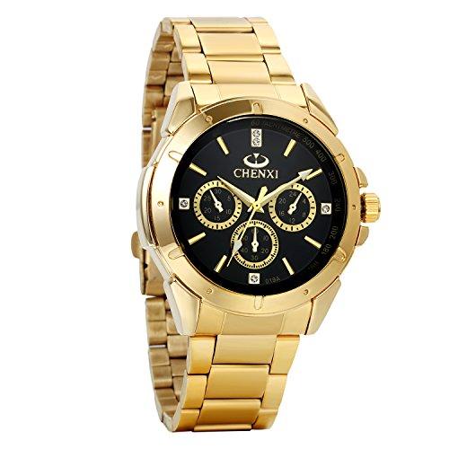 Avaner Reloj Dorado de Esfera Negra Negro Dial, Reloj de Caballero Cuarzo, 3 Subdiales de Decoración, Grande Reloj de Hombre Acero Inoxidable Hip Hop Style, Regalos dia del padre originales