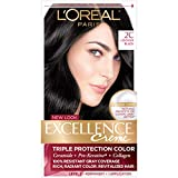 L'Oreal Paris Excellence Creme Permanent Hair Color, 2C Luscious Black, 100 percent Gray Coverage Hair Dye, Pack of 1