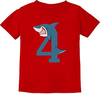 Tstars - 4th Birthday Shark Party 4 Year Old Toddler Kids T-Shirt