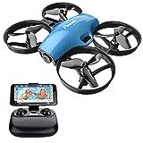 Potente drone RC FPV con videocamera HD, quadricottero portatile 2.4G 6 Asse telecomando, altitudine, modalità senza testa, modalità velocità, avvio / atterraggio a una chiave, batteria sostituibile A30W - blu