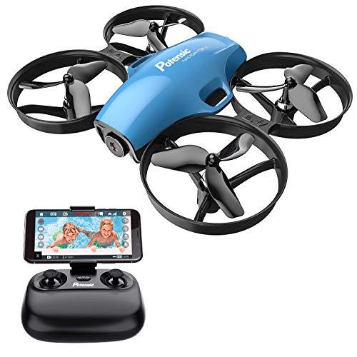 Potensic Drone con Telecamera HD Mini Drone Telecomando A30W Quadricottero WiFi modalità Senza Testa, Adatto per Principianti, Buon Regalo per Bambini (Blu)