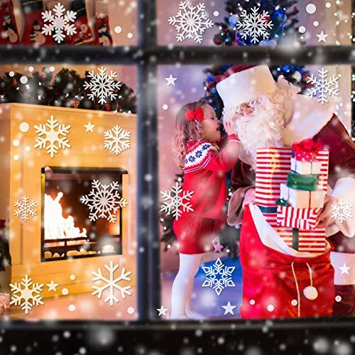 Weihnachtsdeko Fenster, 224PCS Schneeflöckchen Aufkleber Christmas Decorations, PVC Weihnachten Fensterbilder, Fenster Deko für Dankeschön & Weihnachtsdeko, Schneeflocken Deko (6 Blätter)