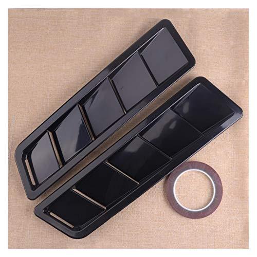 WLLOVE WULE 2 unids Coche Estilo Mate Negro Sólido ABS Bonnet Capucha Louver Louver Panel de enfriamiento Ajuste para Universal