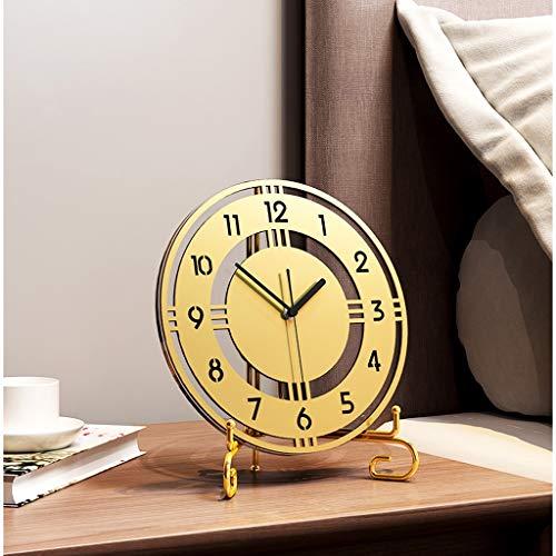 GZQDX Sala de Estar la decoración del hogar del Reloj Reloj de Escritorio Tabla de Oro de Acero Inoxidable silencioso Digital