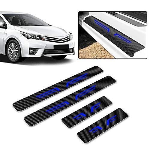 4D Carbon Einstiegsleisten Deko Folie, Lackschutzfolie Selbstklebend, Lackschutz Aufkleber passgenau für Auto Ladekante/Türeinstiege mit Type J Blau 4 Stück