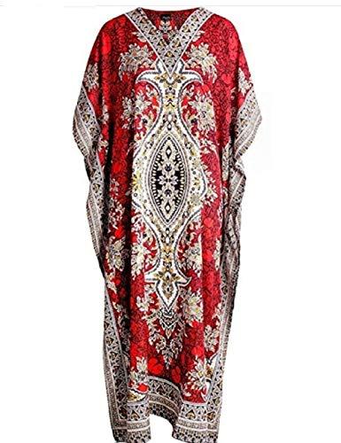 Art Of Creation Kaftan Kimono Women's V-Neck Long Printed Free Size Coverup Red, Large