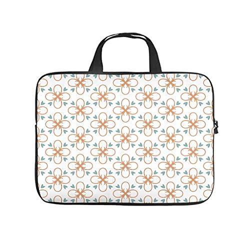 Funda protectora para ordenador portátil, diseño geométrico de flores japonesas, antiestática, para el trabajo, negocios, personalizable, regalos, Blanco, 17 pulgadas,