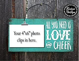 wood picture frame cheer, cheerleading, cheer gift, gift for cheerleader, cheer squad, cheer gifts, cheer signs, cheer decor, cheerleading decor