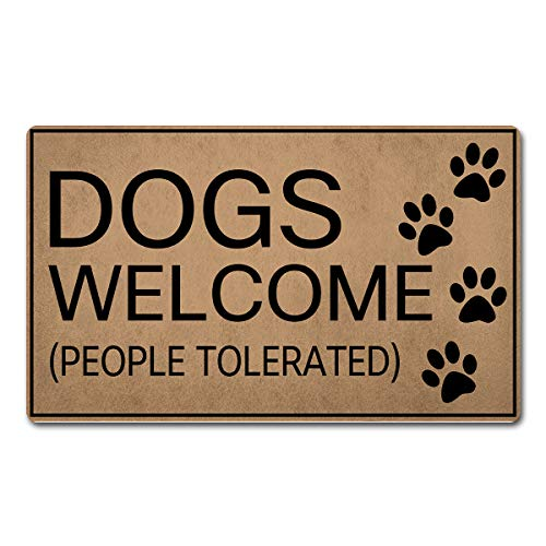 FXGZHAO Welcome Mat with Rubber Back (18 x 30 inch) Dogs Welcome People Tolerated Dogs Mats Funny Doormat for Entrance Way Novelty Mats for Front Door Mat No Slip Kitchen Rugs and Mats